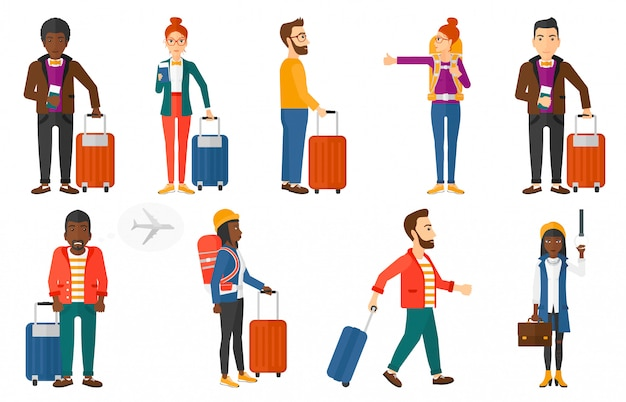 Zestaw transportowy z osobami podróżującymi.