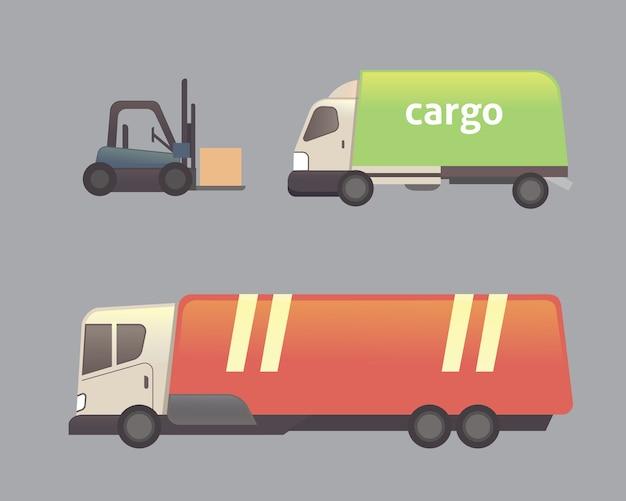 Zestaw transportu ciężarówki cargo na białym tle