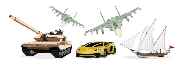 Zestaw transportu kamuflase airforce jet tradycyjna łódź opancerzona czołg sport samochodowy ilustracji wektorowych