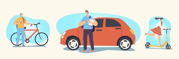 Zestaw transportu miejskiego. postacie męskie i żeńskie prowadzące inny transport jako samochód, hulajnoga i rower. ludzie jeżdżący rowerem i samochodami, miejski styl życia. liniowa ilustracja wektorowa