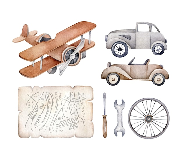 Zestaw transportu retro. samochód zabytkowy, samolot, mapa, koło, narzędzia