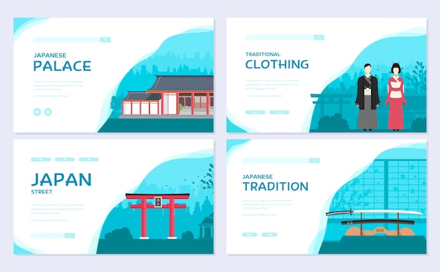 Zestaw traver ornament kraju japonii. etniczny szablon ulotki, baneru internetowego, nagłówka interfejsu użytkownika, wejście do witryny.