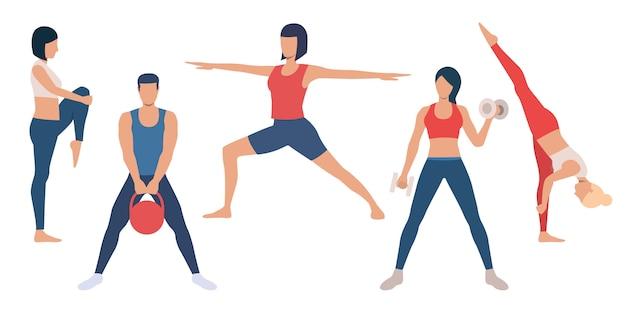 Zestaw treningów sportowców