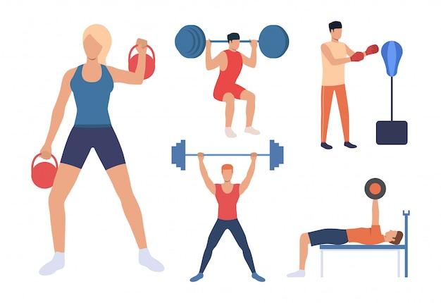 Zestaw treningu siłowego. mężczyźni i kobiety podnoszący ciężary