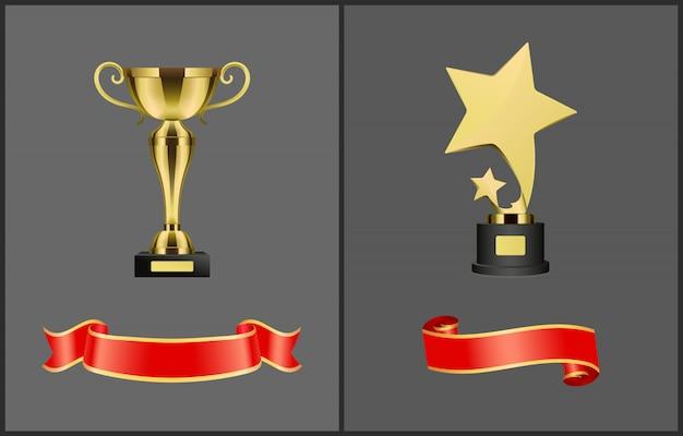 Zestaw trofeów i czerwone sztandary