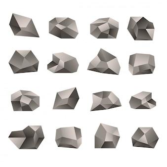 Zestaw trójkątne kamienie ilustracji na białym tle