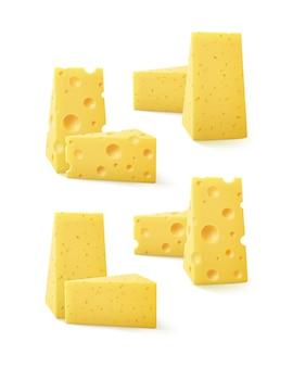 Zestaw trójkątne kawałki sera na tle