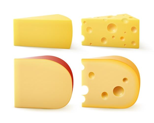 Zestaw trójkątnych kawałków różnego rodzaju sera szwajcarski parmezan gouda edem z bliska na białym tle