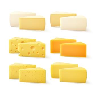 Zestaw trójkątnych kawałków różnych rodzajów sera