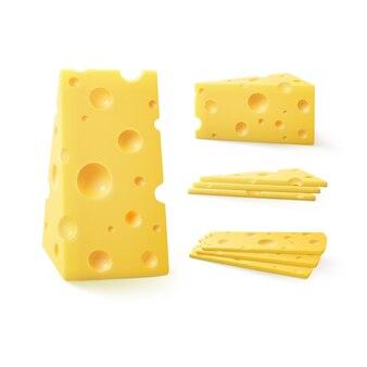 Zestaw trójkątnych kawałków sera szwajcarskiego z bliska na białym tle