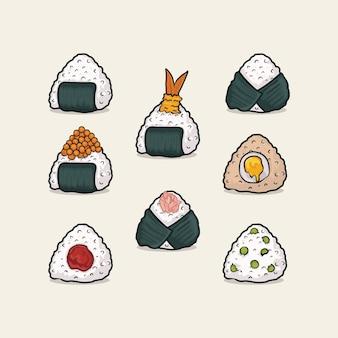 Zestaw trójkątnych kulek japońskiego ryżu onigiri z wodorostami nory o różnym smaku. ikona na białym tle ilustracja wektorowa z prostym kolorem konturu kreskówki