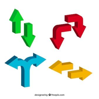 Zestaw trójwymiarowych kolorowe strzałki
