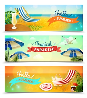 Zestaw tropical beach banery