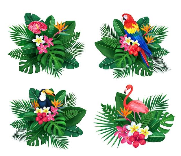 Zestaw tropikalnych banerów