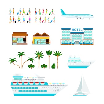 Zestaw tropikalnych elementów wycieczkowych