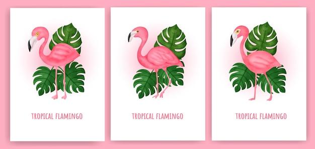 Zestaw tropikalnych flamingo kartkę z życzeniami.