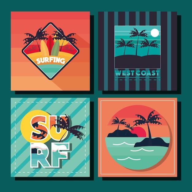 Zestaw tropikalnych kart do surfowania