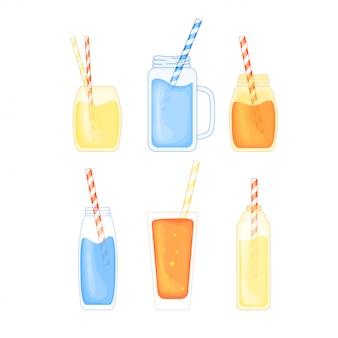Zestaw tropikalnych koktajli alkoholowych i owocowych w uroczym stylu cartoon. impreza na plaży. ilustracja wektorowa na białym tle