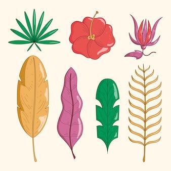 Zestaw tropikalnych kwiatów i liści
