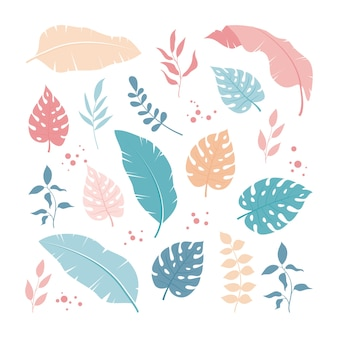 Zestaw tropikalnych liści i elementów kwiatowych, prosty i modny