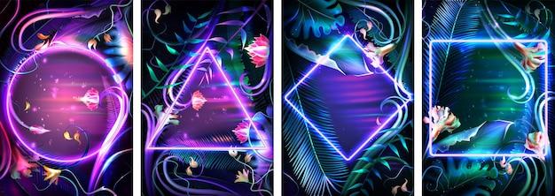 Zestaw tropikalnych neonowych ramek. kwiatowe tło ze świecącymi tropikalnymi liśćmi i podświetlaną obwódką o różnych kształtach geometrycznych. jasny liść palmowy i egzotyczne rośliny realistyczne ilustracji wektorowych.