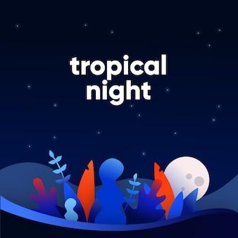 Zestaw tropikalnych niebieski i czerwony gradient liści z tłem nocy