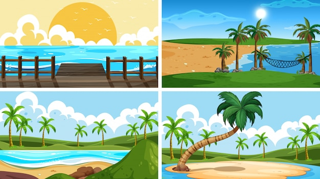 Zestaw tropikalnych scen przyrody z plażami