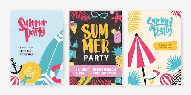 Zestaw tropikalnych szablonów plakatów lub zaproszeń na ogłoszenie o przyjęciu na plaży latem.