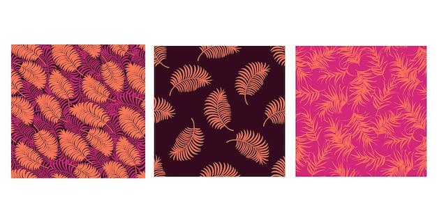 Zestaw tropikalnych wzorów z minimalnymi liśćmi palmowymi