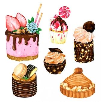 Zestaw truskawek i ciasto czekoladowe w akwarela