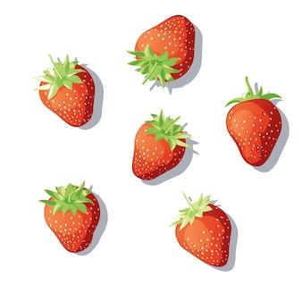 Zestaw truskawek. jagody rozrzucone na powierzchni. truskawki pod różnymi kątami. ilustracja