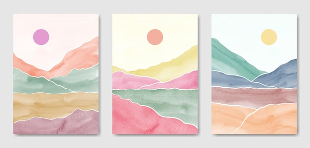 Zestaw trzech abstrakcyjnych estetycznych nowoczesnych kolorowych krajobrazów w połowie wieku. szablon współczesnej sztuki ściennej