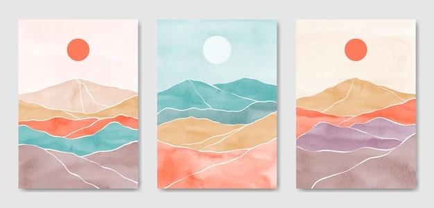 Zestaw trzech abstrakcyjnych estetycznych nowoczesnych kolorowych krajobrazów w połowie wieku