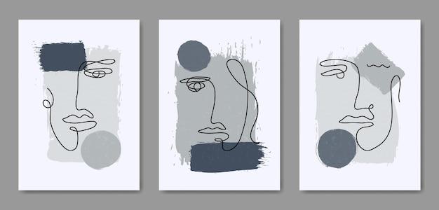 Zestaw trzech abstrakcyjnych estetycznych nowoczesnych linii sztuki twarzy z połowy wieku współczesny szablon plakatu boho