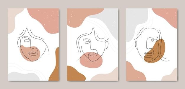 Zestaw Trzech Abstrakcyjnych, Estetycznych, Nowoczesnych Linii Sztuki Z Połowy Wieku Współczesny Szablon Okładki Plakatu Boho. Premium Wektorów