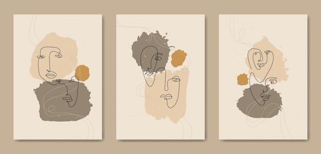 Zestaw trzech abstrakcyjnych, estetycznych, nowoczesnych linii sztuki z połowy wieku współczesny szablon okładki plakatu boho.