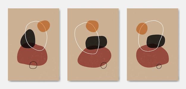 Zestaw trzech abstrakcyjnych estetycznych współczesnych szablonów plakatu w stylu boho z połowy wieku