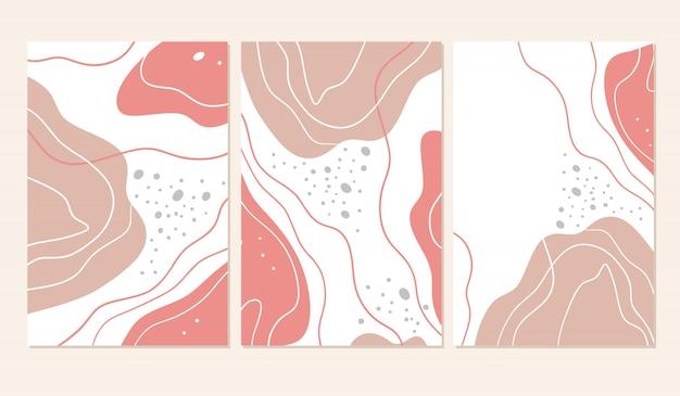 Zestaw trzech banerów abstrakcyjnych kształtów.
