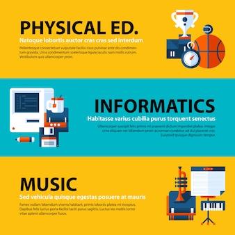 Zestaw trzech banerów internetowych o tematyce edukacyjnej i szkolnej