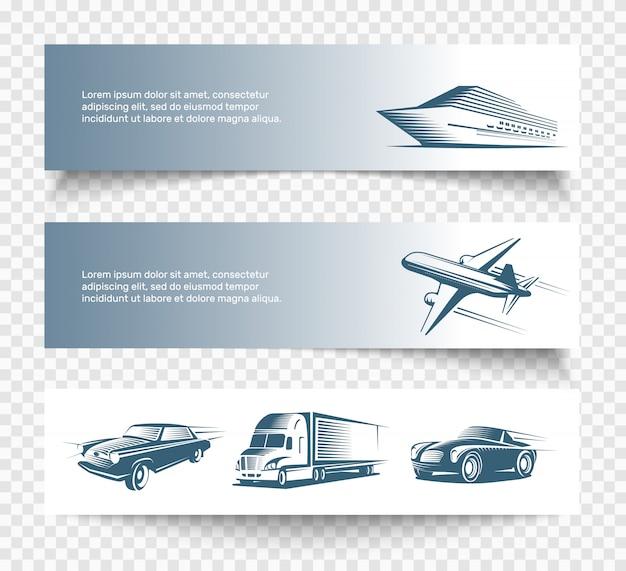 Zestaw trzech banerów na białym tle transportu