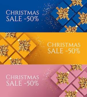 Zestaw trzech banerów sprzedaż świąteczna