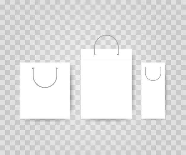 Zestaw trzech białych toreb na zakupy. ilustracja wektorowa.