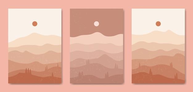 Zestaw trzech estetycznych współczesnych krajobrazów z połowy wieku szablon okładki współczesnego plakatu boho