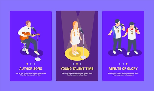 Zestaw trzech izometrycznych banerów pokazu talentów