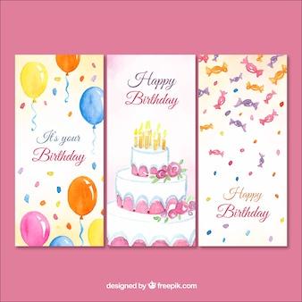 Zestaw trzech kart urodziny akwarela
