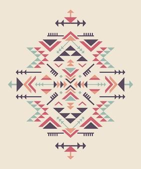 Zestaw trzech kolorowych elementów etnicznych o geometrycznych kształtach