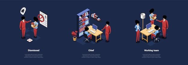 Zestaw trzech kompozycji na ciemnoniebieskim tle. izometryczne ilustracja z pismami o pracy biurowej i ludziach