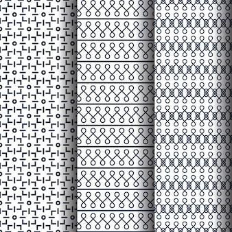 Zestaw trzech kreatywnych abstrakcyjnych wzorów bez szwu lub tekstury.