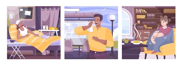 Zestaw trzech kwadratowych kompozycji z objawami przeziębienia, przedstawiających płaskie scenerie wewnętrzne i zewnętrzne oraz osoby chore