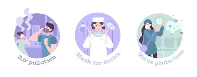 Zestaw trzech masek ochronnych okrągłych płaskich z osobami noszącymi maski ochronne przeciwko koronawirusowi zanieczyszczenia powietrza